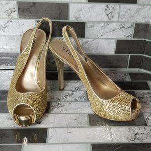 a.n.a Slingback Gold Heels